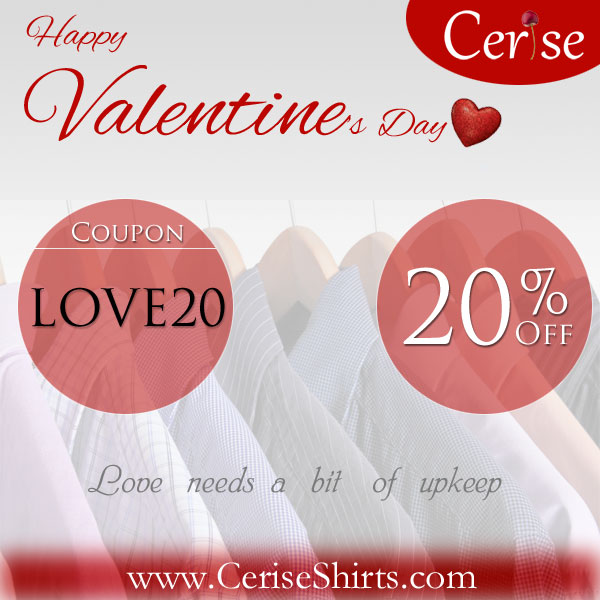 20% off on all shirts on Valentine