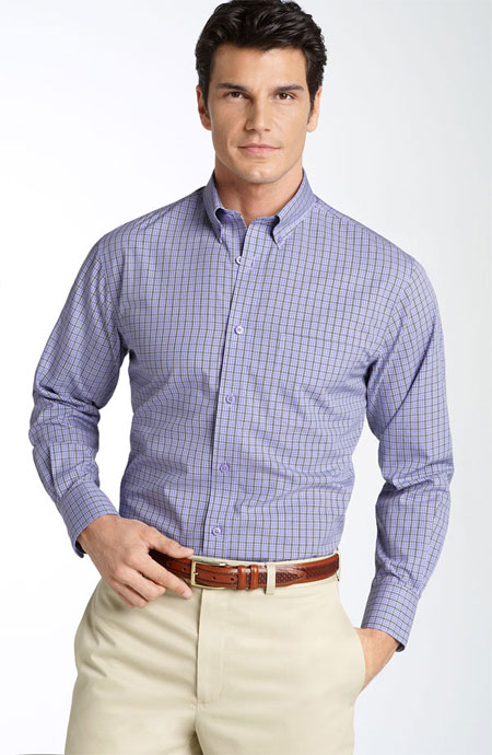 custom men's blue dress shirt