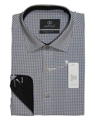 Small checks shirt with black inner collar & cuff