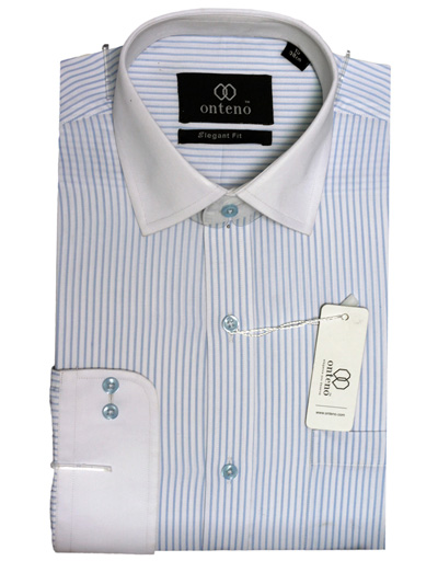 Light Sky Blue/White Stripes With White (Cuff/Collar)