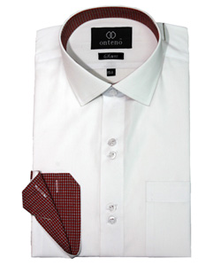 White Slim Fit Shirt with Contrasting Collar & Cuffs