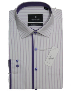 white shirt with purpal striped inner coller & piping