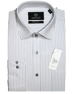white shirt with grey striped