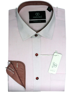 Thistle Shirt With Fire Brick Check Inner Collar & Cuffs