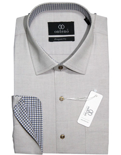 White Smoke Shirt With Olive Grey Checks Inner Collar & Cuffs