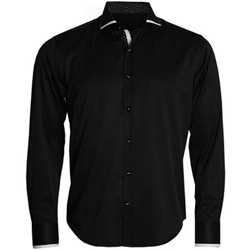 Men's Black Shirt with Polka Dots Contrast