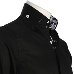 Men's Double Button Collar Regular Fit Black Italian Style Shirt