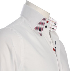 Men's Double Button Collar White Shirt