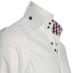 Men's White Shirt with two buttons collar