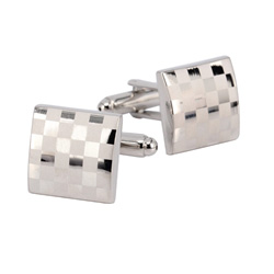 Laser Engraved Silver Men's  Cuff Links
