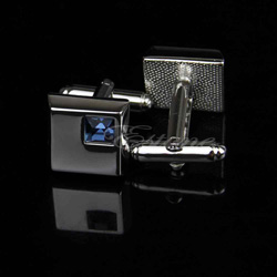 Silver Square Cuff Link with Blue Crystal