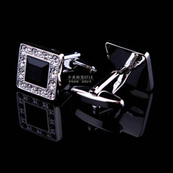 Silver cuff links for mens with diamonds and black crytal