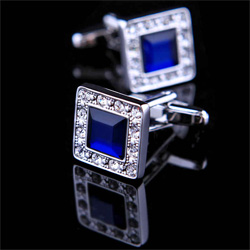 Silver cuff links for mens with diamonds and Blue crytal