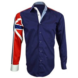 MEN'S ITALIAN STYLE NAVY UNION JACK PRINT SHIRT