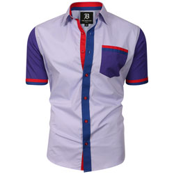 Men's Italian Style Short Sleeve Regular Fit Shirt Light Purple